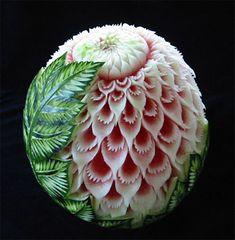 vegetable art - but it's a watermelon - beautiful
