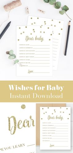 Wishes for Baby Printable by LittleSizzle. Baby Shower activities for your gold themed Baby Shower. Create a magnificent keepsake with this sparkling gold confetti baby shower game card. Let every guest write down their wishes for the baby and collect the cards for the lucky mother-to-be. Simply download and print the cards as many times as you need!