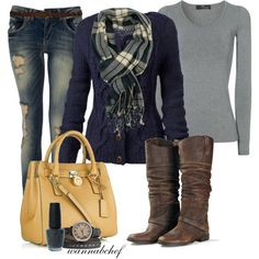 Cute plaid scarf. Love the nave and gray. And the yellow MICHAEL Michael Kors bag is heavenly:)