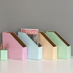 Recycled Pastel Geometric Print Magazine File