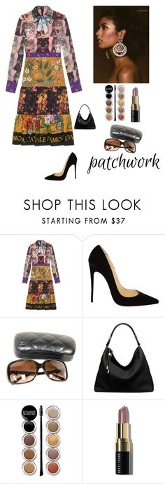 """""""All Patched Up"""" by kotnourka ❤ liked on Polyvore featuring Gucci, Christian Louboutin, Chanel, Michael Kors, Giorgio Armani and Bobbi Brown Cosmetics"""