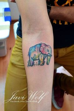 Elephant and watercolor