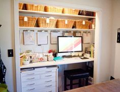 Ah, the closet home office. Be sure to visit our board Home Office for more great design and decorating ideas! Closet Turned Office, Converted Closet, Home Office Closet, Closet Desk, Office Nook, Guest Room Office, Office Storage, Closet Bedroom, Small Bedroom Office