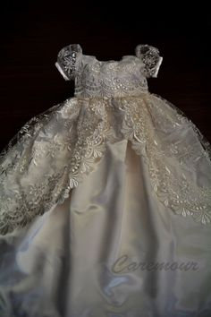 Michealboy Baby Girl Christening Dress 3 Pieces Soft 0-3 Months Party Wedding Special Occasions