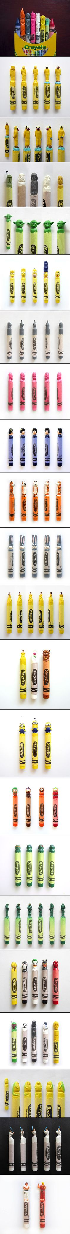 Wax Nostalgic is an ongoing series of miniature sculptures that are made by carving into ordinary crayons. All of these pop and nerd culture-inspired crayon sculptures are handcrafted by artist Hoang Tran.