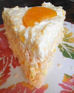 INGREDIENTS: Cake: 1 orange cake mix (I used Pillsbury Moist Supreme Creamsicle cake mix) 1 cup flaked, sweetened coconut Tools: Cake Leveler for beautiful even cake layers Frosting: 1 (15 oz.) can mandarin oranges, do not drain, crushed Note: If you are