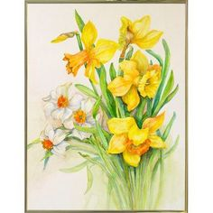 August Grove 'Daffodils- Springs Calling Card' Print Format: Gold Metal Framed