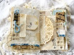 Vintage Junk Journal - Blue Page - Mixed Media Art Book Smash Book by ShabbySoul