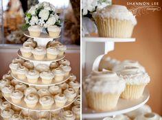 :: rancho palos verdes, ca White Wedding Cupcakes, Elegant Cupcakes, Cupcake Tower Wedding, Cupcake Towers, White Cupcakes, Wedding Stuff, Our Wedding, Wedding Ideas, Cupcake Wrappers