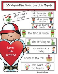 Quick Easy and Fun Valentine's Day Activities Valentines Day Activities, Fun Activities, Question Mark, Dry Erase Markers, Punctuation, Phonics, Elementary Schools, Sentences, Period
