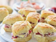 "Leftover Sandwich idea: Thanksgiving ""sliders"" made with buttery biscuits, carved turkey, truffled brie, and cranberry sauce Mashed Potato Cakes, Loaded Mashed Potatoes, Homemade Buttermilk Biscuits, Buttery Biscuits, My Favorite Food, Favorite Recipes, Pumpkin Pecan Pie, Cranberry Cheese, Cranberry Sauce"