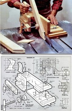 Table Saw Tenon Jig Plans Joinery Tips Jigs and Techniques WoodArchivistcom Woodworking Table Saw, Beginner Woodworking Projects, Woodworking Jigs, Wooden Projects, Diy Projects, Tenon Jig, Homemade Tools, Wood Tools, Joinery