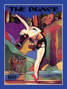 Whimsical Art Deco Dance Cover The Dance Magazine Deco Fairy Butterfly Dancer Musical Arts by Jean Oldham Giclee Fine Art Print 12x16