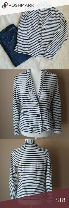 J. Crew Striped Blazer White and navy blue striped cotton blazer from J. Crew.  The blue bled in a few spots as shown in pics.  I had it professionally cleaned, they couldn't get it all out but it is a lot more faint.  Size small. J. Crew Jackets & Coats Blazers