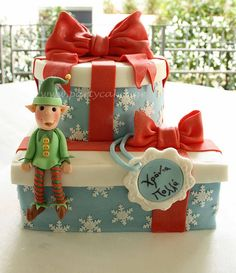 Christmas present cake with an elf :) | Flickr - Photo Sharing!