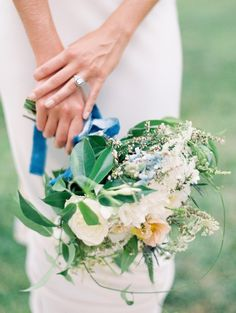 White, blue and green bouquet | photography by http://claryphoto.com/