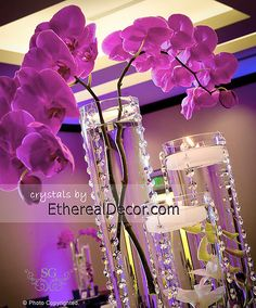crystal garlands for wedding centerpieces...connected to vases