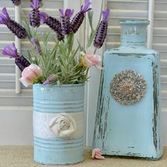 """Fox Hollow Cottage Home Tour - Aqua Repurposed Tin Can and Tequila Bottle Craft. The tin will make a perfect """"vase"""" for paper flowers Tin Can Crafts, Fall Crafts, Crafts To Make, Diy Crafts, Pot Mason, Mason Jars, Tequila, Altered Bottles, Altered Tins"""