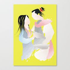 Disney - Mulan And Shang Stretched Canvas by Jessica Slater Design & Illustration - $85.00