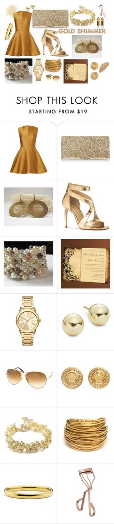 """Gold Shimmer"" by anabdesign ❤ liked on Polyvore featuring Josie Natori, New Look, Michael Kors, Lord & Taylor, Tom Ford, Versace, Chanel, Black & Sigi and Tweezerman"