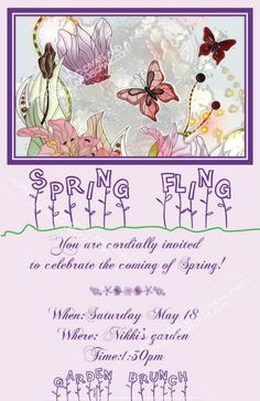 Spring Fling invite created by Two Divas and a Party. Like us on Facebook or follow us on Twitter @TwoDivasParties. Email us at contact@2divasandaparty.com
