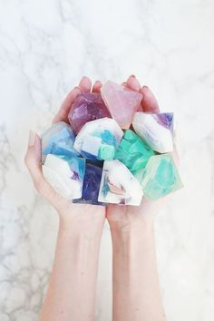 Gemstone Soap DIY (Two Ways!)   A Beautiful Mess   Bloglovin'