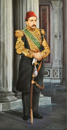 """Sultan Abdulhamit II in Ciragan palace"" 116 x 60 cm, Oil & 24 carat gold on canvas, by ""Florans Atlantis"". The personal collection of Mr. Bülent ARI. Istanbul - Turkey."