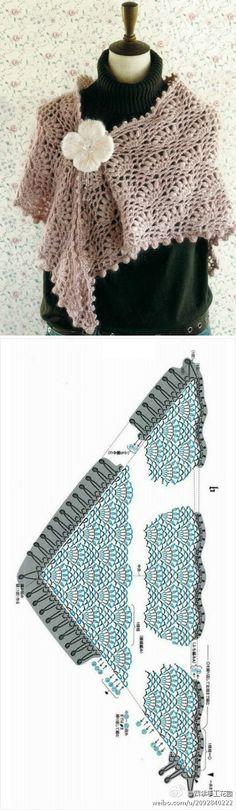 #四季钩编#披肩+图解:一直对披肩怀有特别好感,搭配不同衣服,可以森林系、可以优雅、可以扮萌、可以成熟……百变的风格当然和选择毛线的材质和色彩也很有关系~段染的可以显现风情,而素雅纯色的就更加小清新了~另外最后钩花边的步骤也可自由发挥.本周上完课的童鞋们,你们准备好开工了吗?@四...