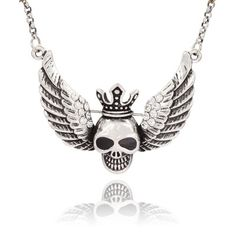 Silver Skull Wing Crown Pendant Necklace