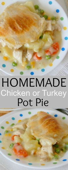 Homemade Chicken or Turkey Pot Pie Recipe This delicious pot pie is a tried and true, comfort food family favorite! Perfect for a fall or winter Sunday dinner! Great with chicken, or use turkey breast leftover from your Thanksgiving or Christmas meal! Easy Pie Recipes, Dinner Recipes, Cooking Recipes, Breakfast Recipes, Leftover Turkey Recipes, Leftover Chicken Pie, Cooked Turkey Recipes, Le Diner, Casserole Recipes
