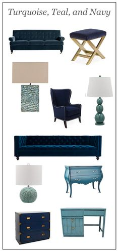 Turquoise, Teal and Navy furnishings