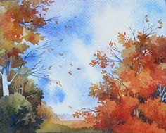 "Landscape Autumn ORIGINAL WATERCOLOR Painting Fall Aspen Trees Orange 8""x10"" SALE"