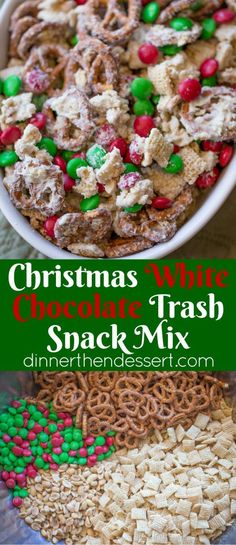 Christmas White Chocolate Trash Snack Mix with pretzels, cereal, peanuts and cho. Christmas White Chocolate Trash Snack Mix with pretzels, cereal, peanuts and chocolate coated candies all tossed together with a generous coating of white chocolate. Christmas Party Food, Holiday Snacks, Christmas Sweets, Christmas Cooking, Holiday Recipes, Christmas Mix, Christmas Recipes, Christmas Trash Recipe, Christmas Puppy Chow
