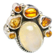 Rainbow Moonstone, Citrine 925 Sterling Silver Ring Size 7 RING767548