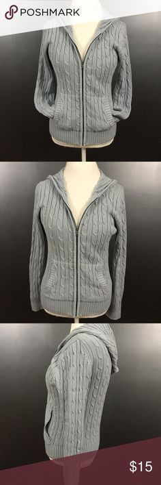 Ann Taylor Knit Hooded Sweater Size XS Women's XS light blue Ann Taylor cable knit, long sleeved, hooded sweater. 100% cotton. There is a very small hole on the side of the shoulder. Ann Taylor Sweaters