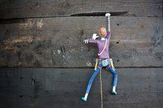 Rock Climber Wall Art. Paper mache & wire by RockPaperScissorsAS