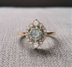 "Grey Mint Moissanite Diamond Engagement Ring Halo Bohemian Art Deco Indian Vintage Antique 14K Yellow Gold Exclusive ""The Jasmine"""