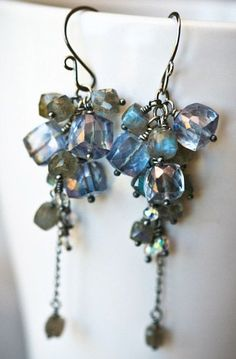 Mystic Quartz and Labradorite Faceted Cubes Antiqued Sterling Silver Cascading Dangle Earrings