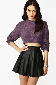 Truncate Crop Knit - Plum:Awesome plum knit featuring a loose weave and cropped fit. Ribbed detailing, boxy fit. Looks rad paired with high-waist skinnies and combat boots! By Cheap Monday.