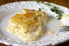 Homemade Scalloped Potatoes- I made these a few nights ago, and can I just say........YUMMMMM?!  I will never go back to another scalloped potato recipe.  The fresh thyme sprigs make a huge difference.