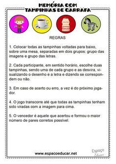 ESPAÇO EDUCAR: Jogo da Memória com tampinhas plásticas para alfabetização: trabalhando o som inicial das figuras!