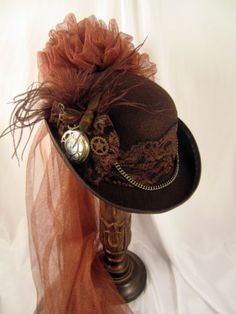 Steampunk Brown Derby Hat with Pocket Watch and Netting