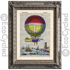 New to EcoCycled on Etsy: Hot Air Balloon 3 on Vintage Upcycled Dictionary Art Print Book Art Print Balloons Flying Machines Aeronautical Ship (10.00 USD)