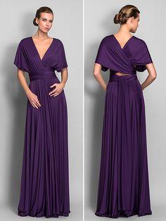 Mix&Match Convertible Dress Floor-length Jersey Sheath/Column Dress (633753) - USD $ 74.99