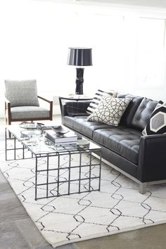 Pinned only to show a darker couch w lighter rug and contrasting pillows [our Ethan Allen Melrose sofa seen here in leather]