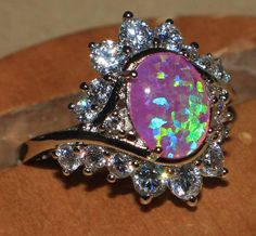 pink fire opal Cz ring gemstone silver jewelry Sz 8 chic modern cocktail style E in Jewelry & Watches, Fashion Jewelry, Rings | eBay