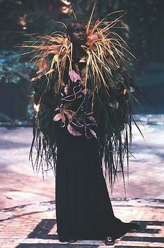 Alek Wek at Givenchy HC by Alexander McQueen Fall 1998
