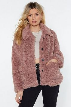 The Ready Teddy Coat comes in faux shearling and features a relaxed silhouette, pockets at front, button-down closure, and pointed collar. Faux Shearling Coat, Faux Fur, Baby Coat, Girl Sleeves, Belted Shorts, Teddy Coat, Faux Leather Jackets, Coats For Women, Nice Dresses