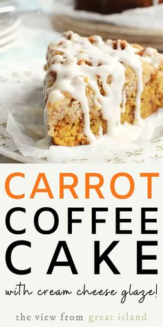 Carrot Coffee Cake with Cream Cheese Glaze its not just an excuse to eat carrot cake for breakfast (ok maybe it is) but its also a fresh take on a classic dessert with a buttery streusel topping and a sweet tangy glaze. Pudding Desserts, Kid Desserts, Dessert Simple, Cream Cheese Glaze, Cake With Cream Cheese, Cream Cheese Coffee Cake, Cake Mix Recipes, Dessert Recipes, Carrot Cake Loaf
