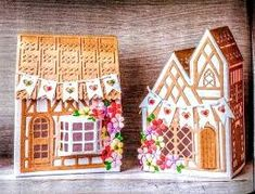 Village scene I made for Cardmaking and Papercraft Magazine with Tonic Studios Tudor Town dies Paper Houses, Cardboard Houses, Tonic Cards, Paper Towns, Cardmaking And Papercraft, Putz Houses, 3d Projects, Little Houses, Gingerbread